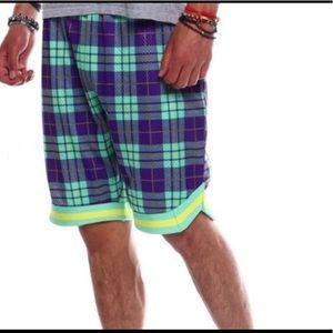 🆕🚹Rebel Minds Purple/Green plaid mesh shorts,MD!